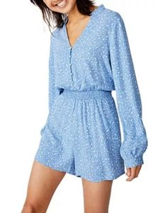 Cotton On Woven Luella Long Sleeve Floral Playsuit